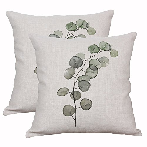 Set Of 2 Throw Pillow Covers Decorative Green Fern Leaf Cushion Covers Square Cotton Linen Outdoor Couch Sofa Home Pillow Covers 18x18 Inch