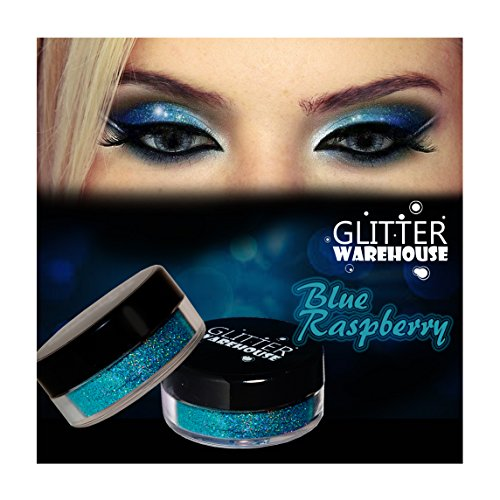 GlitterWarehouse Blue Raspberry Holographic Cosmetic Loose Glitter Powder for Eyeshadow, Makeup, Nail Art, Body Tattoo