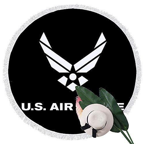 (GETSHA Air Force Logo Round Beach Towel Throw Picnic Tapestry Wall Hanging Tapestry Polyester Table Cover Tablecloth Yoga Towel 60