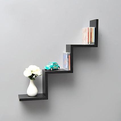 Mensole A Zig Zag.Lounge Shelf Zigzag Design Retro Cd Wall Shelf Hanging Shelf In Black