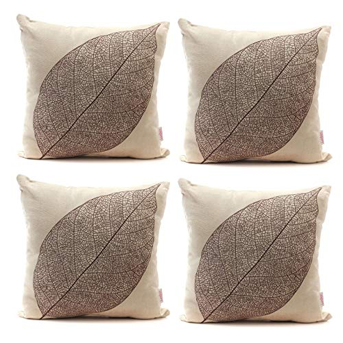 - Luxbon Set of 4Pcs Stylish Simplicity Leave Design Cotton Linen Sofa Couch Chair Throw Pillowcases Cushion Covers 18