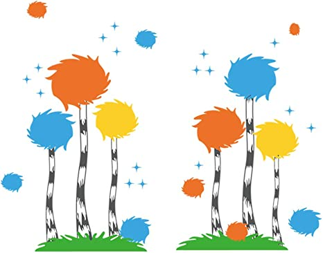 Amazon Com Decalmile Dr Seuss The Lorax Truffula Tree Wall Decals Kids Wall Stickers Baby Nursery Childrens Bedroom Playroom Wall Decor Home Kitchen