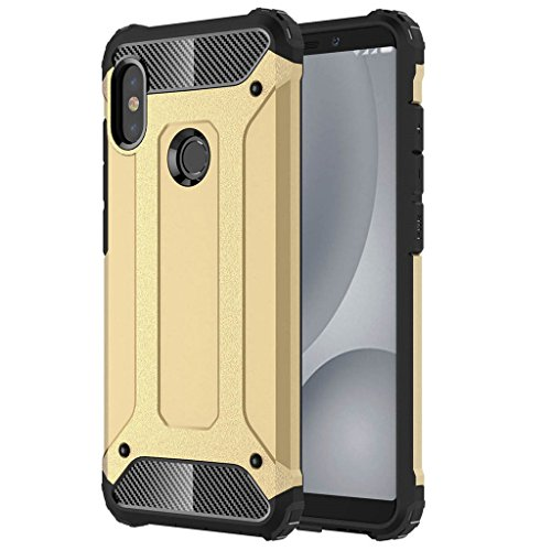 2 in 1 Case for Xiaomi Mi A2 Smartphone, Protective Cover Shockproof Cases Slim Hard PC + Soft Silicone TPU Simple Phone Shell Covers - Gold