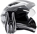 Dual Sport Helmet Combo w/Gloves - Off Road Motocross UTV ATV Motorcycle Enduro - Silver, Black - XXL