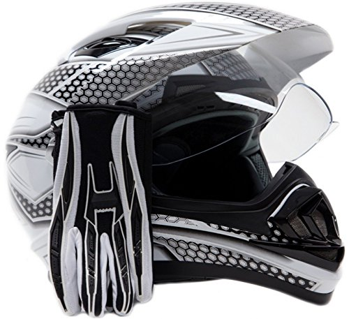 Dual Sport Helmet Combo w/Gloves - Off Road Motocross UTV ATV Motorcycle Enduro - Silver, Black - XXL by Typhoon Helmets