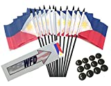 Box of 12 Philippines 4''x6'' Polyester Miniature Desk & Little Table Flags, 4x6 Filipino Small Mini Hand Waving Stick Flags with 12 Flag Bases (Stands)
