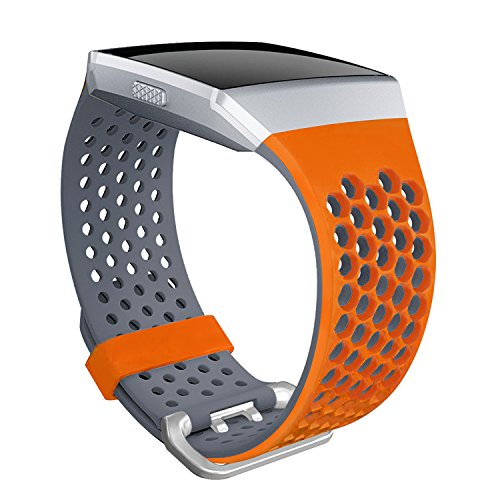 For Fitbit Ionic Bands, SKYLET Soft Silicone Breathable Replacement Wristband for Fitbit Ionic Smart Watch with Buckle (No Tracker)[Orange-Gray, Large]