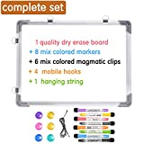 Magnetic Dry Erase White Board for Wall,Small Dry Erase Whiteboard Includes 8 Magnetic Dry Erase Markers,Double Sided Whiteboard for Kids, Home, Office, School