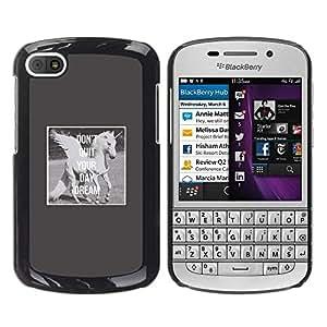 Be Good Phone Accessory // Dura Cáscara cubierta Protectora Caso Carcasa Funda de Protección para BlackBerry Q10 // Unicorn Daydream Grey Wings Horse