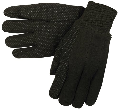 MCR Safety 7800 Jersey Cotton Knit Gloves with Plastic Dotted Palm and Forefinger and Clute Pattern, Large, 1-Pair Palm Clute Pattern