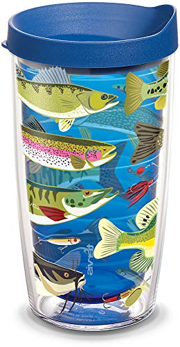 Tervis 1308228 Freshwater Fish and Lures Insulated Tumbler with Wrap and Blue Lid 16oz Sapphire