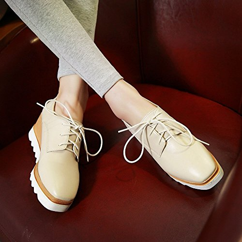 Wedge Shoes Oxford Heel Up Womens Beige Shoes Lace AIWEIYi Dress Classic C15xWY