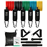 OlarHike 13pcs Resistance Bands Set, Including 5 Stackable Exercise Bands with Door Anchor, Ankle Straps, Carrying Case & Guide Ebook - for Resistance Training, Physical Therapy, Home Workouts, Yoga