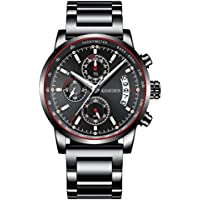 Kashidun Men's Chronograph Waterproof Quartz Fashion Watch (Black)