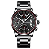 Mens Stainless Steel Watches Men Chronograph Waterproof Sport Date Quartz Wristwatch with Black Big Face Fashion Classic Casual Watch Gifts for Men