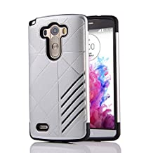 MOONCASE LG G3 Case Hybrid Armor Tough Rugged [Anti Scratch] Dual Layer TPU +PC Frame Protective Case Cover for LG G3 Silver
