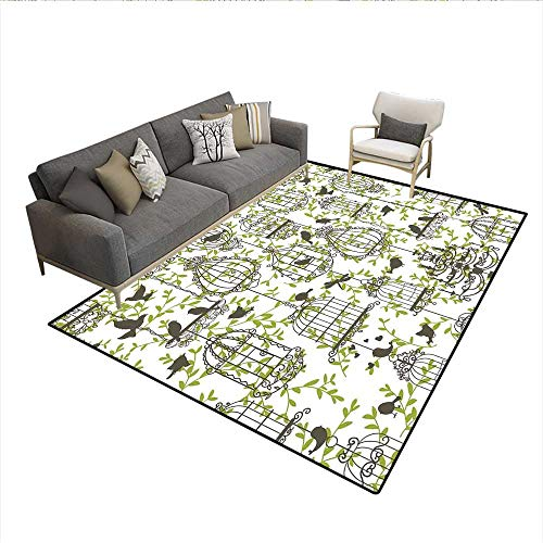 Scrollwork Cage (Carpet,Antique Lovely Birdcages on Ivy Leaf Love Couple Escape Freedom Modern Illustration,Customize Rug Pad,Navy Green 6'6