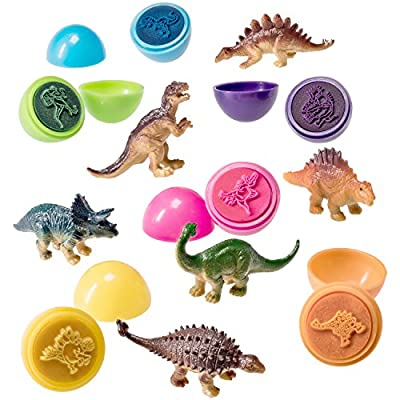 Prextex Easter Eggs Filled with Mini Dinosaurs and Mini Dino Egg Stampers: Toys & Games