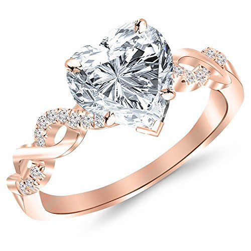 0.88 Ctw Twisting Infinity Gold and Split Shank Pave Set Engagement Ring w/ Heart 0.75 Carat Forever One Moissanite Center