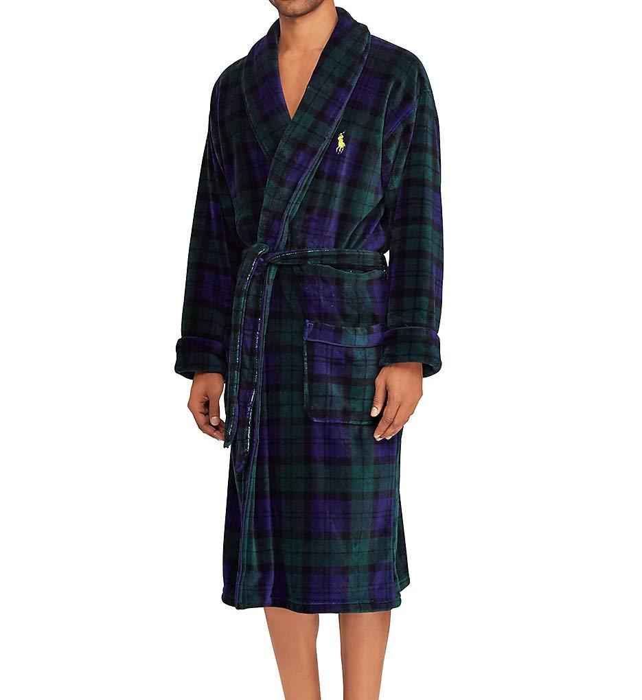 Polo Ralph Lauren Men's Microfiber Plush Long Sleeve Shawl Collar Robe Blackwatch Plaid/Polo Yellow Pony Print Large/X-Large