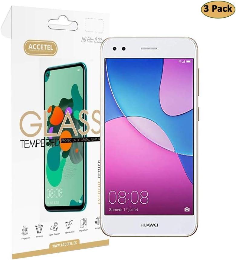 Accetel Protector de Pantalla para Huawei Y6 Pro 2017 [3 Pack], Protector Cristal Templado de [2.5D Borde Redondo] [9H Dureza] [Anti-Huella] [0,33mm] [Alta Definicion] Protege tu Huawei Y6 Pro 2017