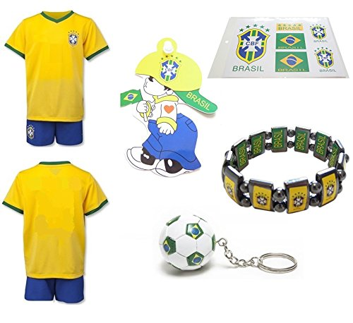 iSport Gifts® Brazil Home No Name / Neymar #11 Kids Soccer Jersey and Soccer Shorts 6 IN 1 SOCCER FAN GIFT KIT Youth Sizes YS / YM / YL *FLASH - Has Order Shipped