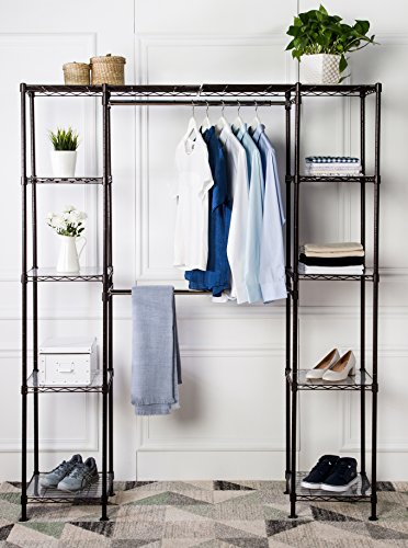 "AmazonBasics Expandable Metal Hanging Storage Organizer Rack Wardrobe with Shelves, 14""-63"" x 58""-72"", Bronze"