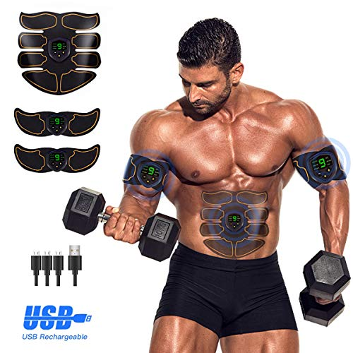 Abs Stimulator Ab Stimulator Recharge Muscle Toner Trainer Ultimate Abs Stimulator for Men Women Abdominal Work Out Ads Power Fitness Abs Muscle Training Gear ABS Workout Equipment Portable