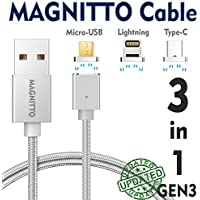 MAGNITTO 3-in-1 Magnetic Lightning USB Charging and Data Transmission Cable Type C Nylon Braided Sync Cord with High Speed Data Transfer for iOS Android Systems iPhone X 8 7 Plus 6 5 Samsung S8 GEN3