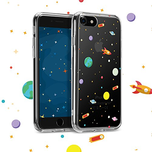 GMYLE iPhone 8/iPhone 7 Case, Outer Space Planets Design Astronaut Cartoon Star Galaxy Spaceman Shockproof Clear Flexible Soft TPU Bumper Protective Case for iPhone 7 & 8, Universe