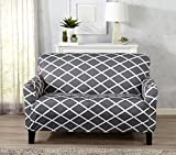 Great Bay Home Strapless Stretch Printed Slipcover Loveseat Cover, Stain and Spill Resistant. Tori Collection (Love Seat - Grey)