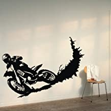 """ColorfulHall 23.6"""" X 39.4"""" Black Color Motorcycle Racer Dirt Bike Motor Sport Vinyl Wall Decals Wall Decor Sticker"""