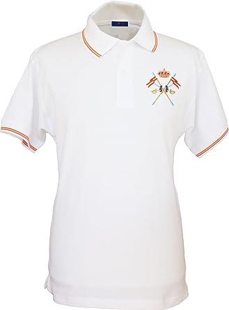 Pi2010 – Polo Caballería Española para Hombre, Color Blanco ...