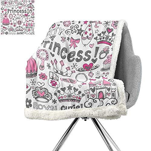 Teen Girls Decor Blanket Small Quilt,Fairy Tale Princess Tiara Crown Notebook Doodle Design Sketch Illustration,Digital Printing Blanket W59xL78.7 Inch