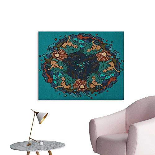 Anzhutwelve Mermaid Wall Picture Decoration Marine Theme Circle of Mermaids Illustration Vintage Style Ornamental Pattern The Office Poster Teal Red Cream W32 xL24