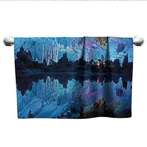 LilyDecorH Natural Cave,Small Bath Towels Illuminated Reed Flute Cistern with Artifical Crystal Palace Myst Cave Image Print Hotel Pool Towels Blue W 14