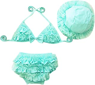 feiXIANG Bikini Tops Badehose Badekappen Set Baby Mädchen Kinder Rüschen Badeanzug Swimwear
