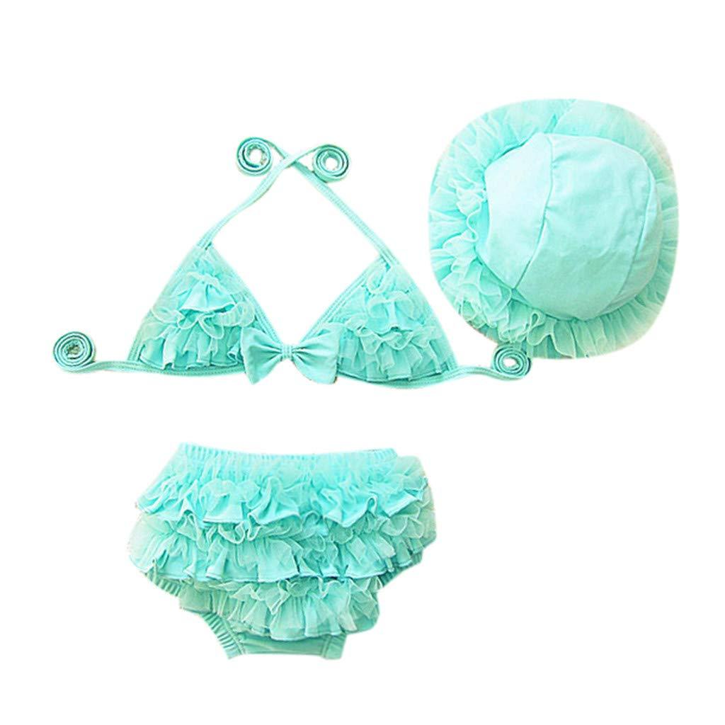 Maillot de Bain Bebe Fille Anti-UV 3pcs Bikini+Bonnet Dentelle A S/échage Rapide Combinaison B/éb/é Maillot de Plong/ée 6mois-5ans Plage Piscine Vacances Cadeaux Bebe Fille