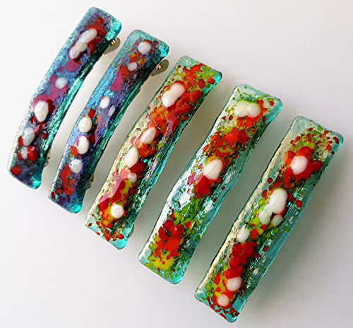 5 Hair Barrettes Fused Glass Mosaic Colorful Handmade Hair Clip High quality finish Beautiful hair ()