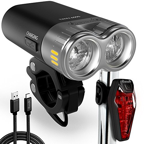 USB Rechargeable Bike Light Kit – LED Bicycle Headlight And Taillight Super Bright 600 Lumens – High Capacity Li ion Battery – Waterproof Fits All MTB Mountain And Road Bikes – Cycling Safety Review