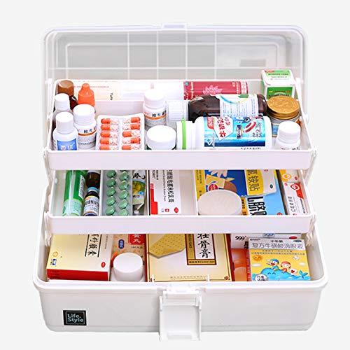 WOLFBUSH Plastic Medicine Box Oversize 3-Tier Family Emergency Kit Storage Organizer Multi-Functional Storage Box with Handle for Medicine Cosmetic, 33×18×17.5cm (White)