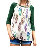 Ratoop Fashion Womens Blouse, Feather Print Casual T-Shirt Three Quarter Long Sleeve Pullover Tops (Green, S)