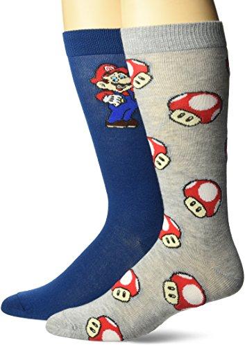 Nintendo Super Mario Mens and Big Boys 2 Pk Crew Socks