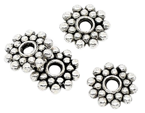 (Souarts Antique Silver Color Snowflake Shape Spacer Beads Pack of 100pcs)
