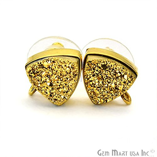 GemMartUSA Golden Druzy Earring connector Stud post setting with loop hoop open bail 24k Gold Plated, bezel and bails (GZ-90014) - Druzy Hoop