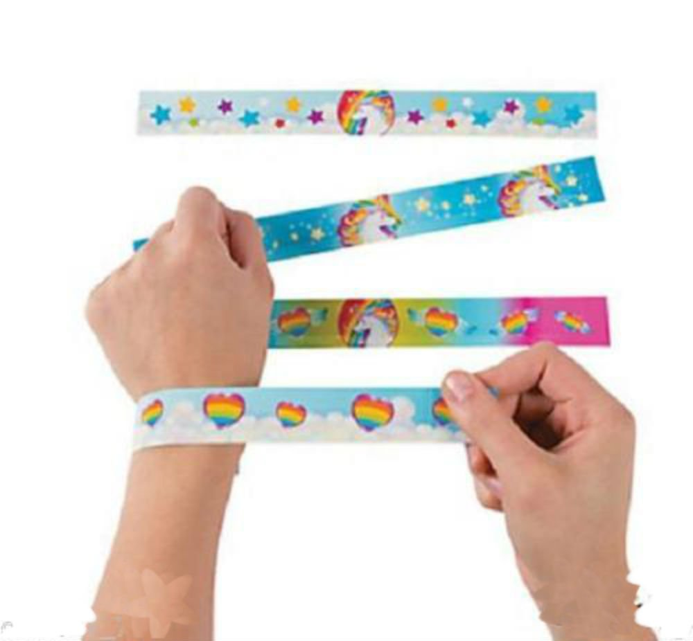 12 Birthday Everyday Party Favors UNICORN PONY RAINBOW Paper SLAP BRACELETS by Generic