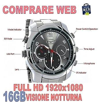 Reloj con cámara espía 16 GB Full HD acero infrarrojo visión nocturna espía cw61 Comprare web: Amazon.es: Electrónica