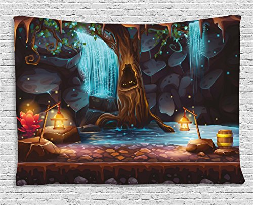 Ambesonne Fantasy Decor Tapestry by, Enchanted Forest with Cave Waterfall and Magic Tree Barrel of Gold Elf Image, Wall Hanging for Bedroom Living Room Dorm, 80WX60L Inches, Brown Blue