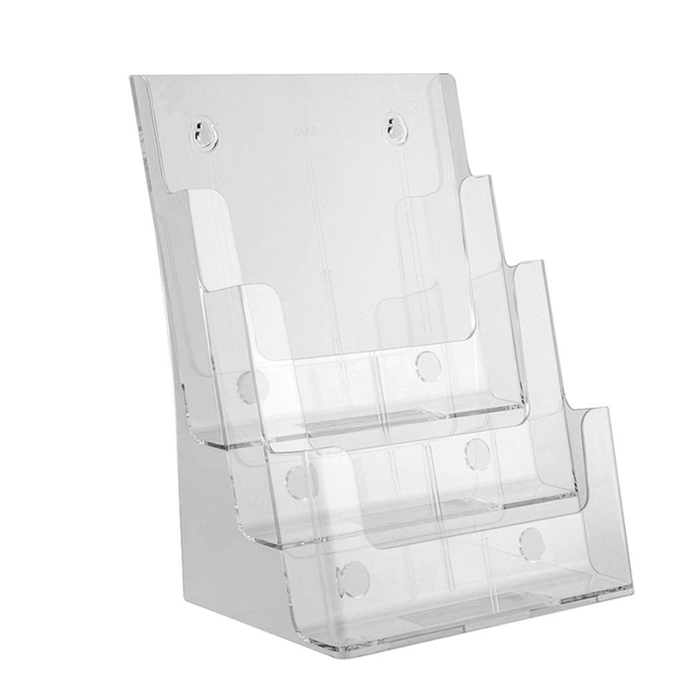 Magazine file holder organizer Desktop Data Display Stand Acrylic A4 Three-tier Newspapers And Magazines Propaganda Frame Card Box(Clear Crystal Color) Office folder organizer ( Color : Clear )