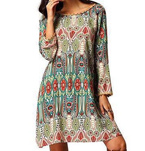 Plus Sizes Dresses (Women Bohemian Back V Neck Vintage Printed Ethnic Long Sleeve Loose A-line Summer Shift Tunic Dress Plus Sizes (2XL))